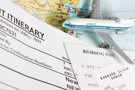 booking: Travel theme with ticket itinerary baggage claim and boarding pass