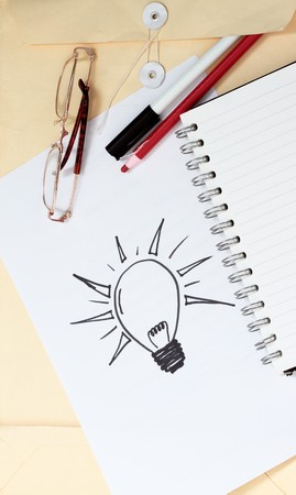 manila envelop: Concept for ideas and innovation for creativity and invention Stock Photo