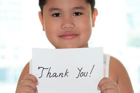 Boy with card and thank you card  Stock Photo - 7885882