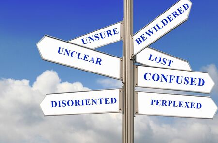 decission: Confusing Street Direction - concept for confused and unsure decission.