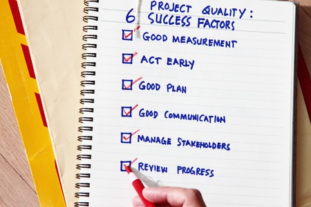 factors: six success factors survey concept - checked factors in success management