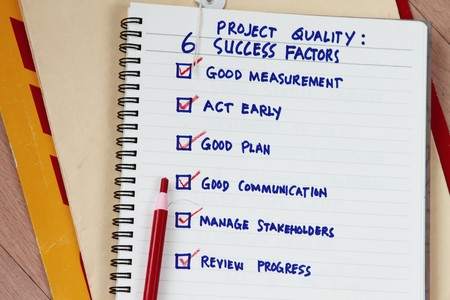 stakeholders: Six success factors for project quality concept. Stock Photo