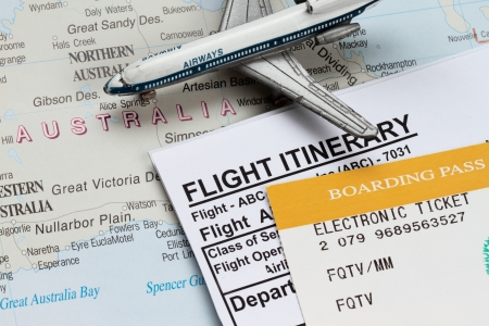 airplane ticket: Flight itirenary with australia in the map with boarding pass.