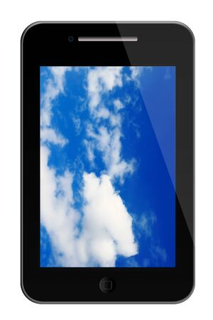 phone illustration digital high resolution with sky as background in the monitor display Stock Illustration - 8160266