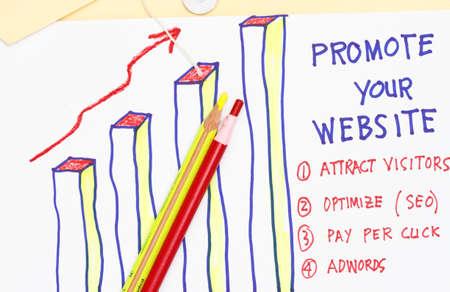 intercommunication: Promote your website- graph representing visitors concept Stock Photo