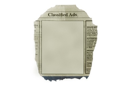 Classified ads isolated in white background - with blank space for your text. photo