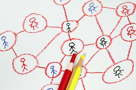 drawing a social network scheme concept for internet connectivity photo