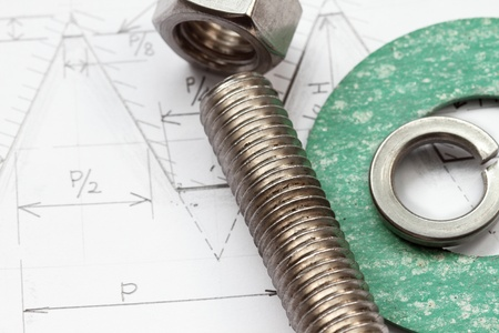 gasket: Design of bolt and nut with formula and gasket Stock Photo
