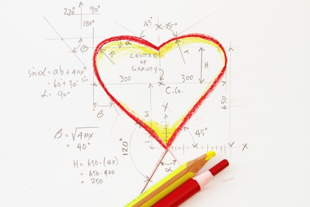 derivative: Heart with formula - love calculation abstract concept Stock Photo