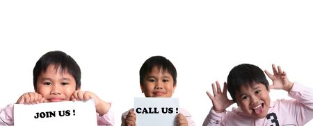 Montage of  child isolated in a  white background with message photo