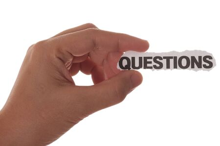 hand with question mark with copy space photo