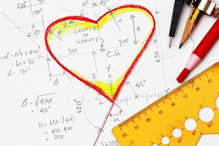 love proof: Hearts drawing with calculation and drawing tools Stock Photo