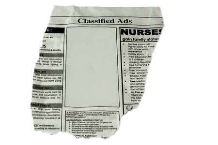 classified: Classified Ads concept - cut out ready to use blank box for your text and commercial