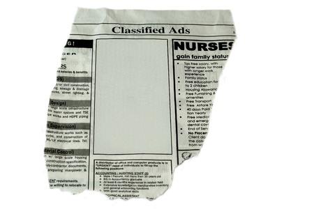 Concepto de anuncios clasificados - recortar listo para usar el cuadro en blanco para el texto y comercial