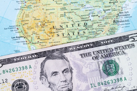 American five dollar banknote detail  Stock Photo - 9197605