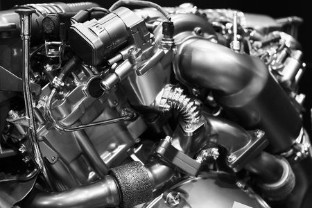Close up shot of modern diesel engine block