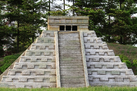 Ancient Chichen Itza Mayan Kukulcan pyramid - replica miniature in Korea photo