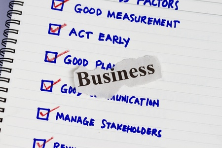 Business factors abstract with sketch and business cut out paper Stock Photo - 9929327