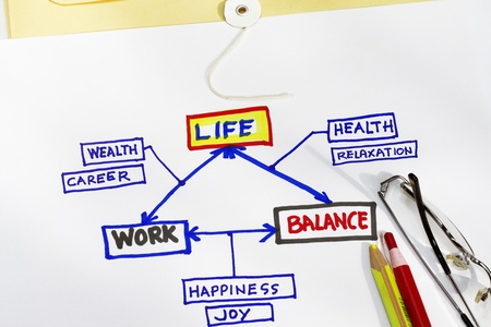 work life and balance abstract - sketch with pencils and eyeglass Stock Photo - 9929326
