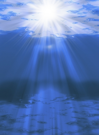 An illustration of sunlight shining through the water with sunbeam