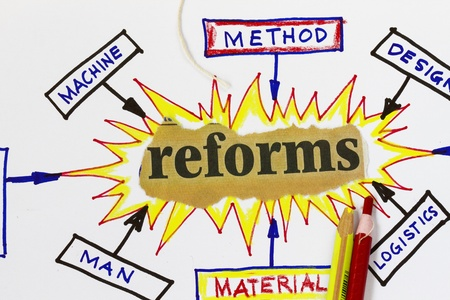 cause and effect: Reforms cutout in an abstract cause effect diagram.