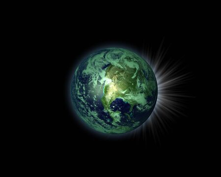 fantasy world: An illustration of a nice green planet with life on it Stock Photo