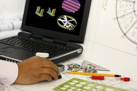 cad drawing: 3D繪圖機械零件 - 概念設計和起草工作。顯示在顯示器是我的原創作品。