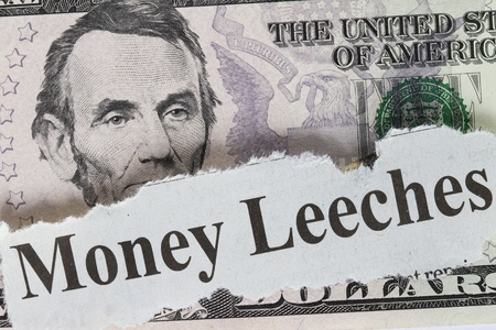 plunder: Money leeches abstract with cutout - concept for economy.