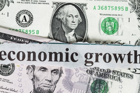 Economic growth abstract- five dollar close up shot. Stock Photo - 10472095
