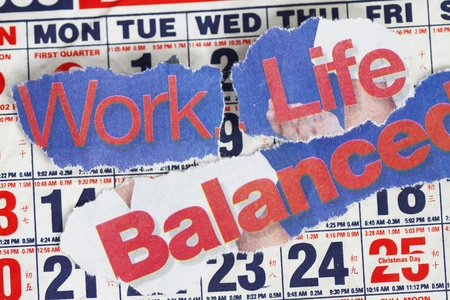 working model: Work Life and Balance abstract with calendar
