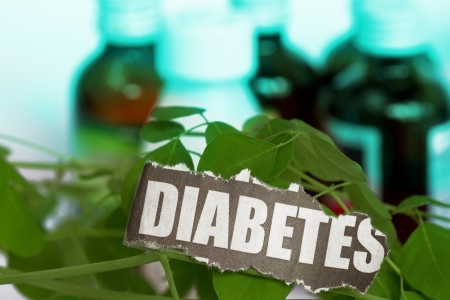 Diabetes Herbal supplement pills close up with fresh green leaf photo