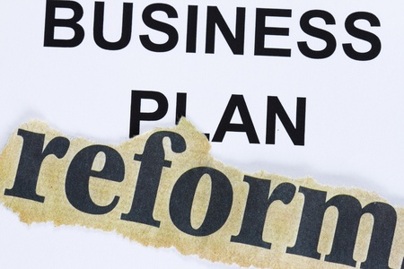 manila envelop: Reform of business plan abstract - reform cutout lain on business plan concept.