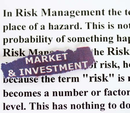 narrative: Risk management market and investment abstract - with narrative on risk management. Stock Photo
