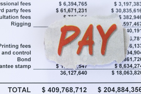 write off: Pay your bills abstract - with pay cutout
