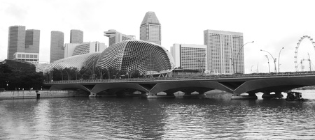Panorama of Singapore in the sunshine day - black and white photo