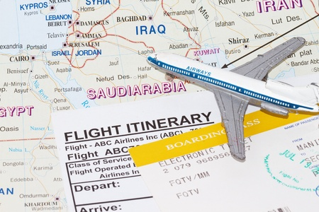 southwest asia: Trip to Saudi Arabia with plane and flight itinerary