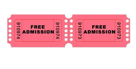 ticketing: Free admissionmovie ticket illustration high resolution digital.