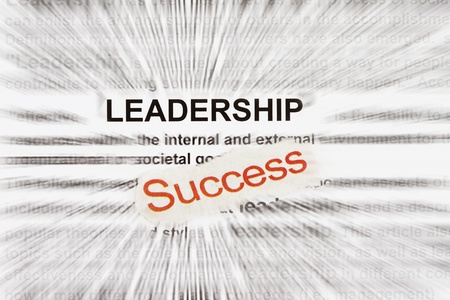 Success and leadership abstract in a word description radially blur. photo