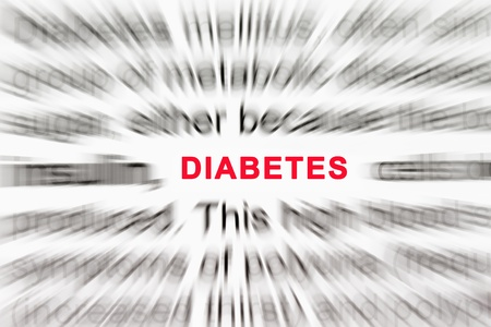 Diabetes in focus with the description in radial blur. photo