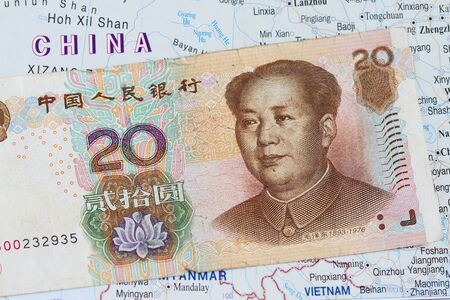 chinese money background with map of china photo