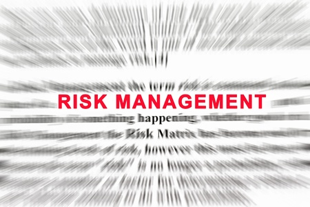 financial questions: Risk management in a words of radial blur abstract. Stock Photo