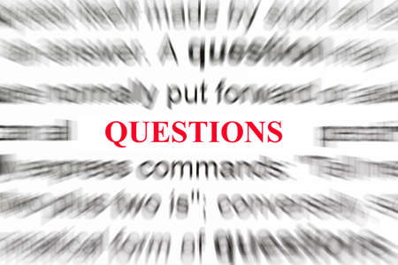 Questions in focus with definition of question blurred  photo
