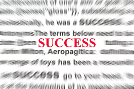 definition of success with focus on the word success photo