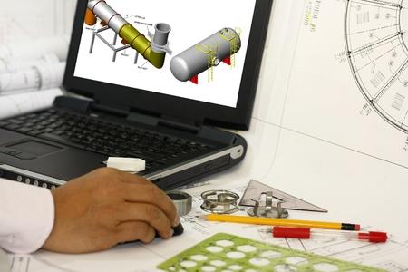 cad drawing: 工程師起草土木工程與空白顯示器