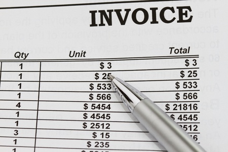 paid: Paid Invoices abstract with pen and dollar billing schedule