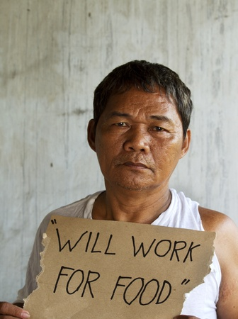 impoverished: Homeless, unemployed and  hungry begging for food