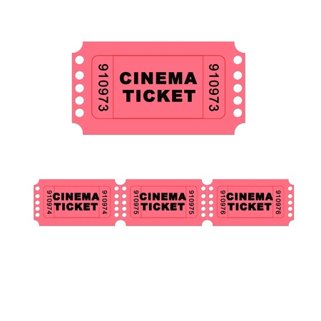 A pink admit one ticket isolated on a white background - illustration digital high resolution. illustration