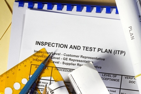 manila envelop: Inspection and Test plan abstract- many uses in the oil and gas industry  Stock Photo