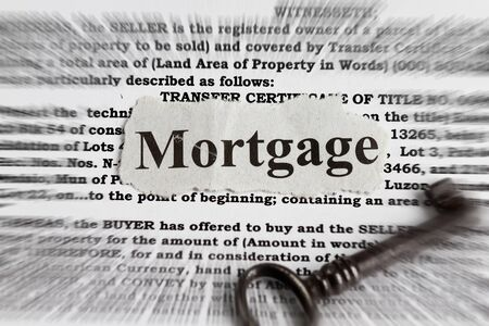 foreclosed: Mortgage abstract - mortgage cutout with radial blur effect