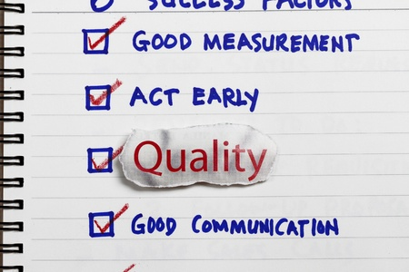 succesful: Quality choice for a survey - concept for company goals and policy  Stock Photo